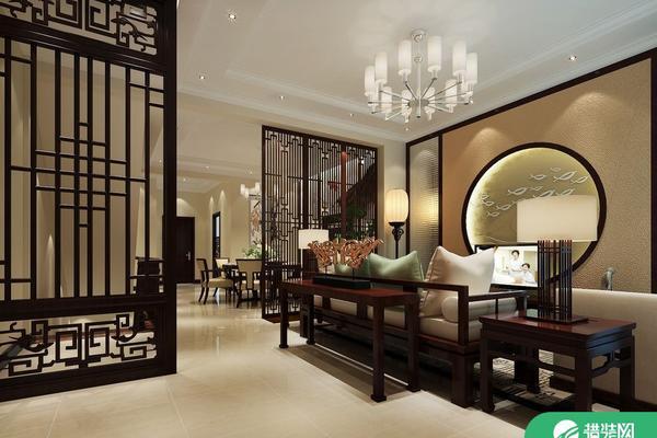 西安華新中式風格四居室裝修效果圖