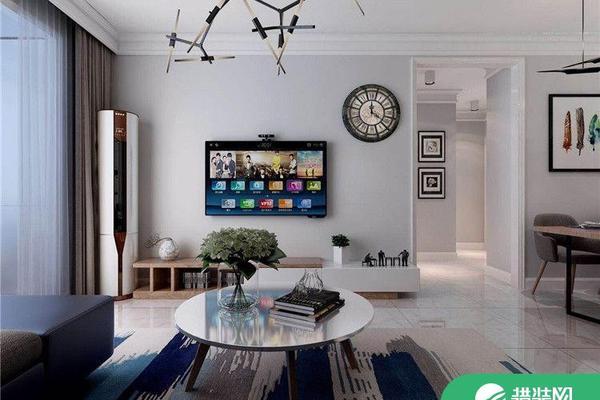 青島蔚藍群島現代簡約二居室裝修案例圖