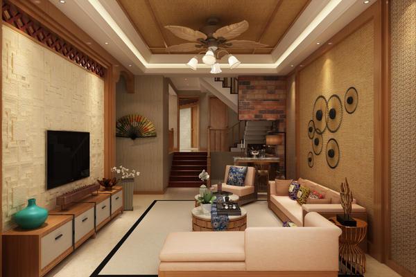 昆明野鸭湖二期东南亚风格 220平米房子装修 全包26万