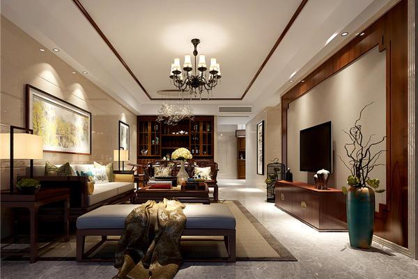 和風江岸四居室新中式裝修風格設計案例