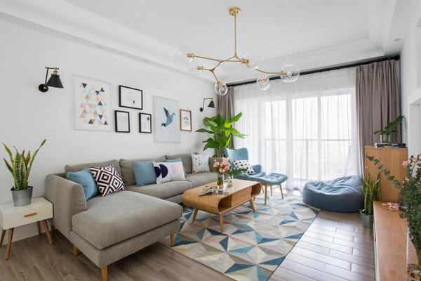 兩室兩廳現代北歐風格裝修案例
