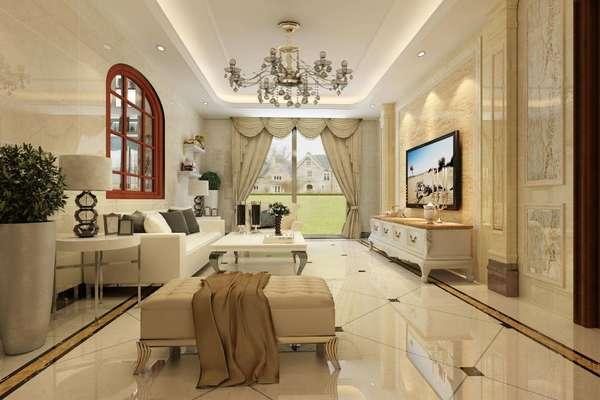 250平米現代簡歐風格鏤空別墅客廳裝修效果圖