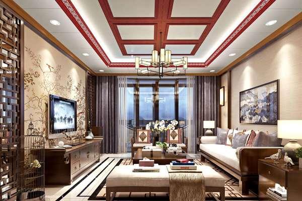 220平米高檔別墅客廳仿古中式風格裝修效果圖