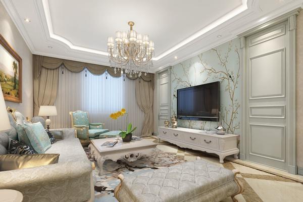 120平三居室美式輕奢風格客廳墻布電視墻裝修效果圖