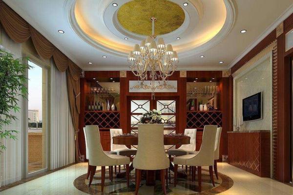 268平米美式風格別墅客廳圓形吊頂效果圖