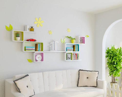 客厅可调节背景墙置物架图片