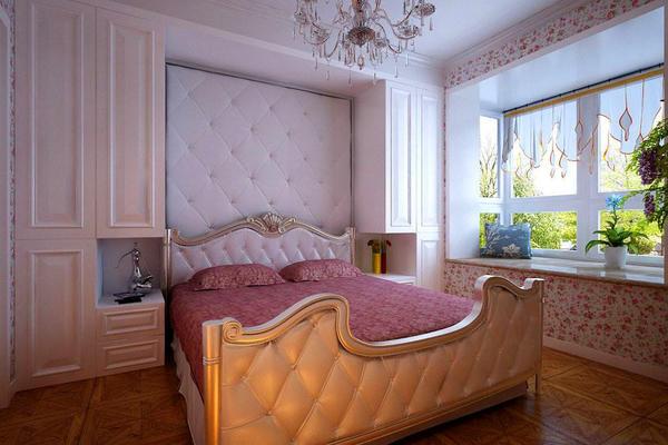 125平米簡歐風格主臥床頭背景墻效果圖