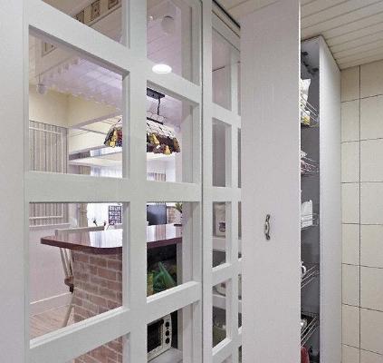 地中海風格小戶型廚房移門裝修效果圖