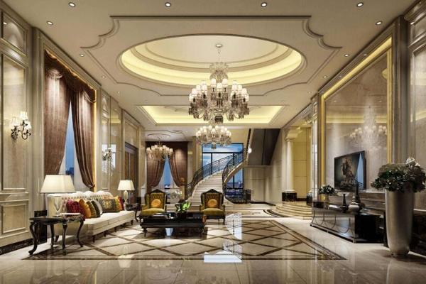300平欧式风格别墅客厅墙面效果图