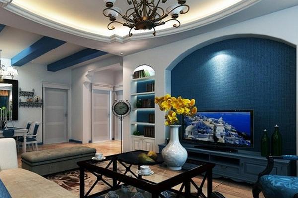 复式楼简约地中海风格客厅电视背景墙装修图