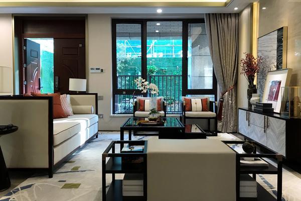 300平新中式別墅樣板間客廳裝修效果圖