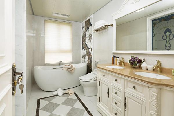 130平方別墅美式田園風格衛生間窗戶裝修效果圖