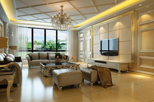 140平米客廳菱形天花板吊頂裝修效果圖