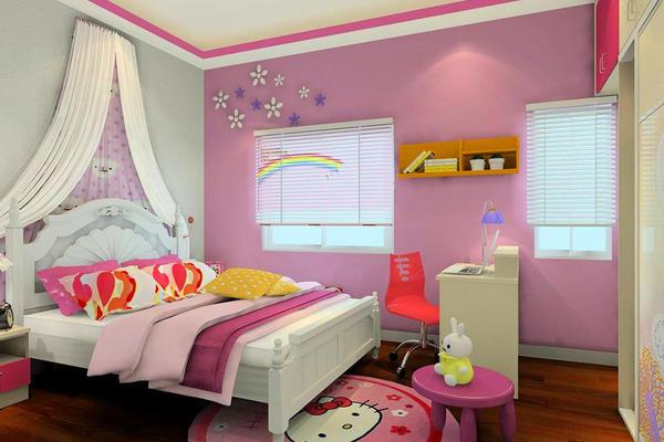80平米簡歐風格兒童房粉色背景墻圖片