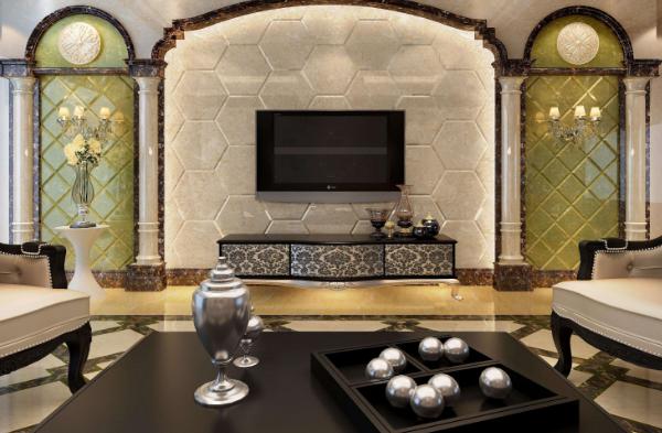 別墅復古中式風格背景墻大理石裝修效果圖