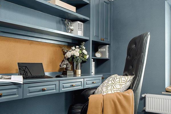 蓝色精美地中海书房设计装饰效果图