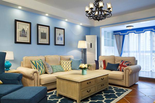 85平米地中海風格兩室兩廳室內裝修效果圖案例