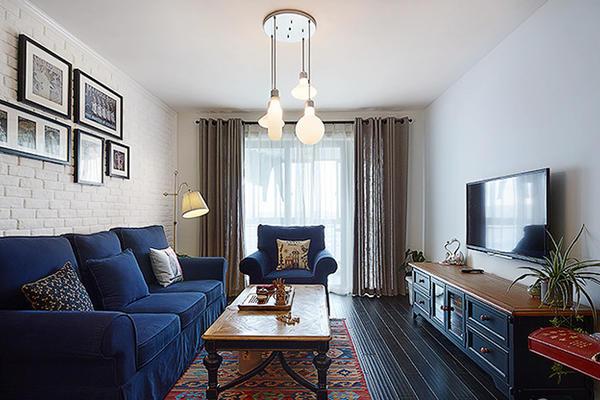 地中海風格溫馨藍色90平米室內裝修效果圖