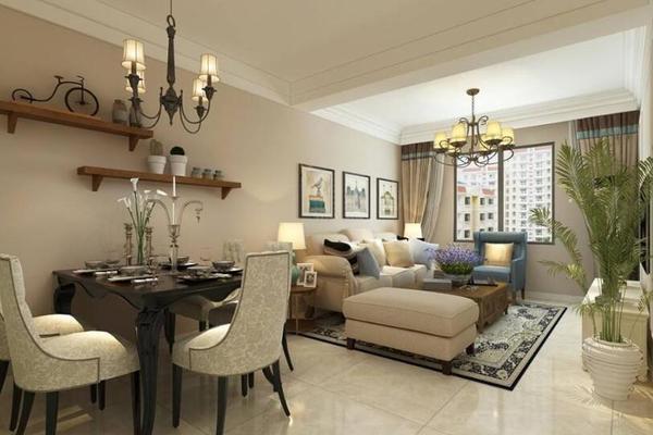110平简欧风格客厅沙发背景墙挂画效果图大全