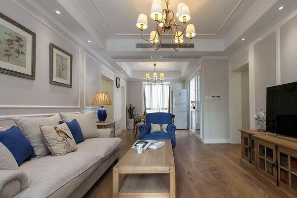 兩室一廳地中海風格客廳吊燈裝修效果圖