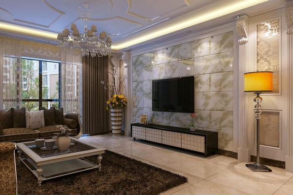 118平米田園風格客廳背景墻裝修效果圖
