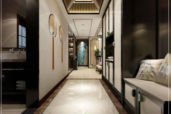 90平复古中式风格房子走廊橱柜设计装修效果图