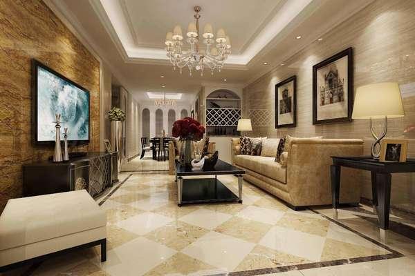 115平三居室新古典风格客厅石材背景墙装修效果图