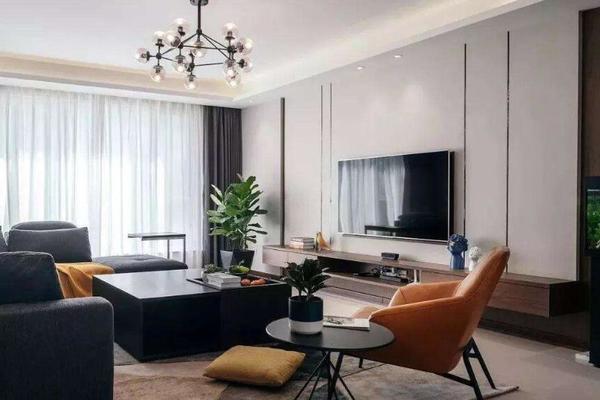 120平米客廳電視壁紙背景墻裝修效果圖