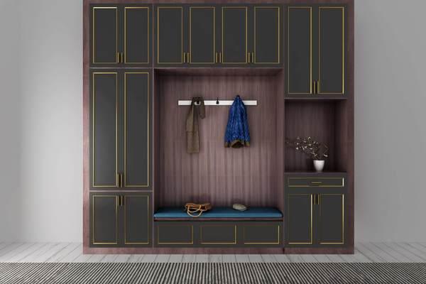 190平米新中式別墅進門鞋柜裝修效果圖