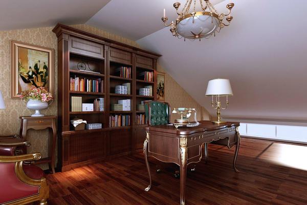 古典奢華的復式樓閣樓書房設計效果圖