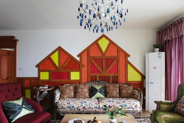 126平米田園風格活潑可愛三室兩廳室內裝修效果圖