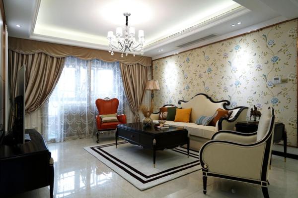 二居室簡歐風格25平不規則客廳局部裝修效果圖