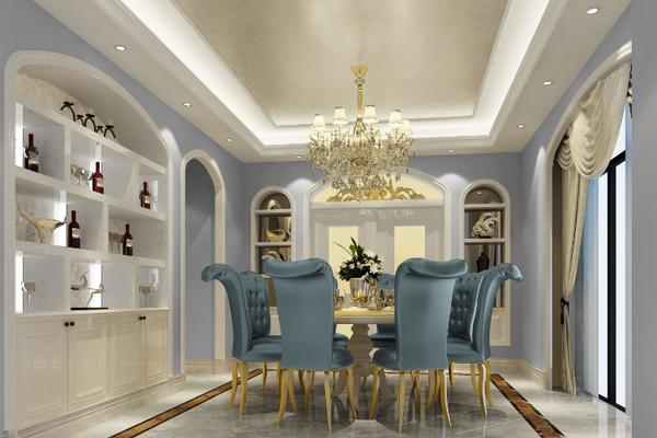 躍層歐式風格餐廳燈裝修效果圖