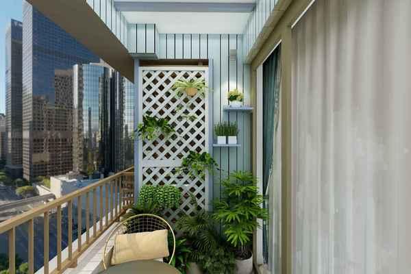 别墅二楼简约全封闭阳台花园效果图