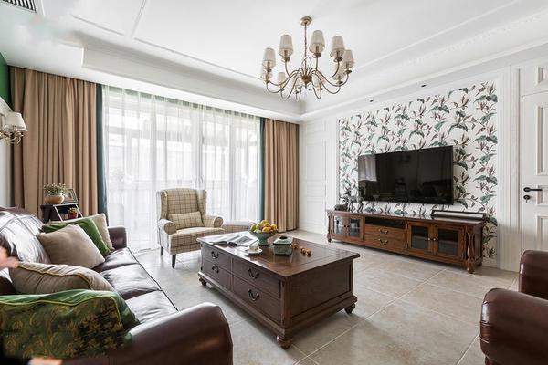 美式風格精致客廳電視背景墻裝修效果圖