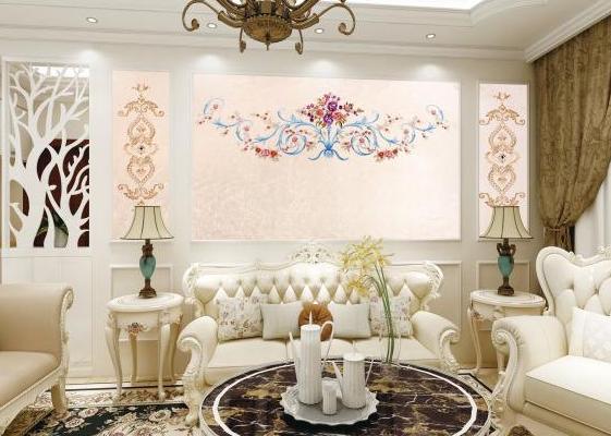 210平米歐式客廳墻布裝修效果圖
