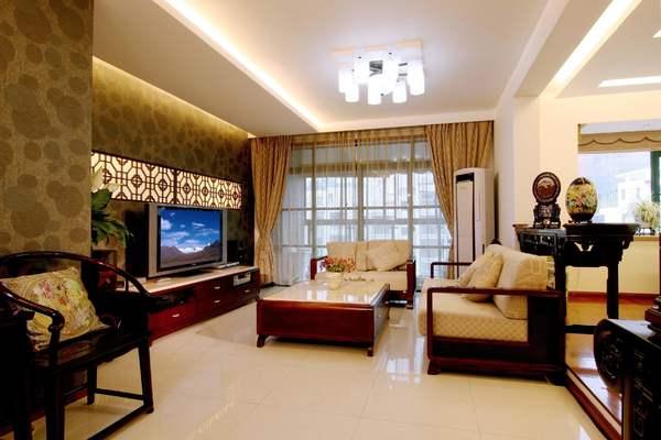 250平新中式別墅大廳窗簾裝修效果圖