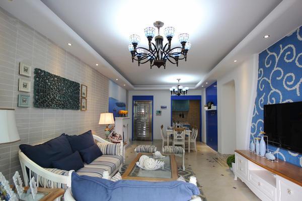 130平米地中海風格三室兩廳室內裝修效果圖賞析