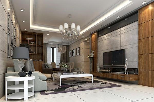 130平米大戶型現代美式風格客廳裝修效果圖