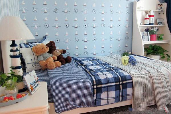 90平米蓝色清新地中海风格两居室房屋装修效果图