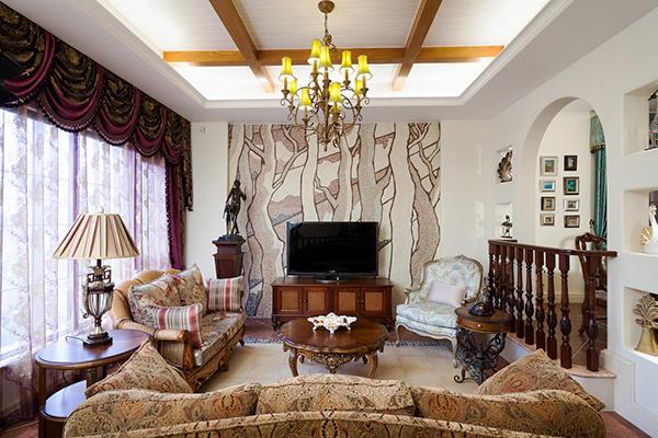 美式田园风格别墅室内装修效果图案例