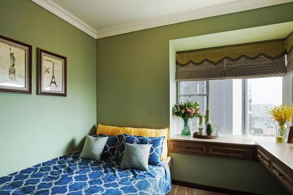 田園風格30平米臥室飄窗窗簾裝修效果圖