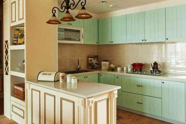 清新简欧风格厨房橱柜装修效果图