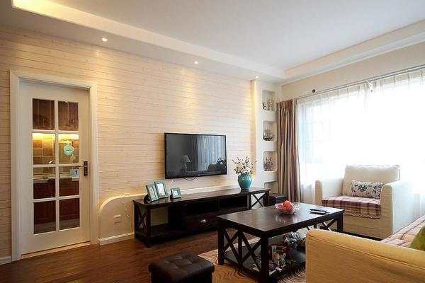 2015美式田园风格94平米两室一厅装修效果图